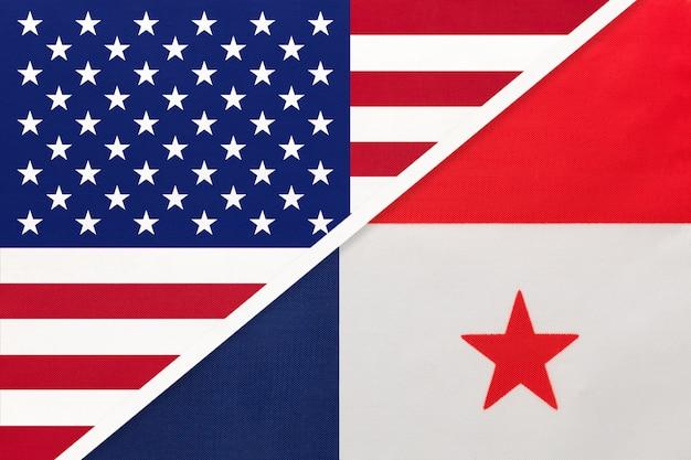 Vs versus nationale vlag van panama. relatie tussen twee landen.