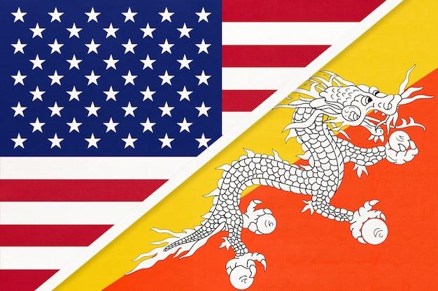 Vs vs koninkrijk bhutan nationale vlag van textiel. relatie tussen twee amerikaanse en aziatische landen.