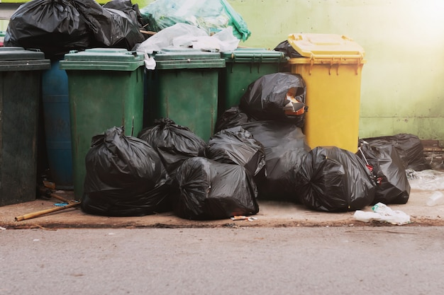 Vuilnis in afval met zwarte zak bij park