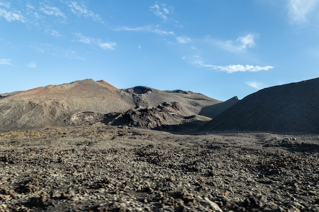 Vulkanisch landschap in lanzarote in spanje