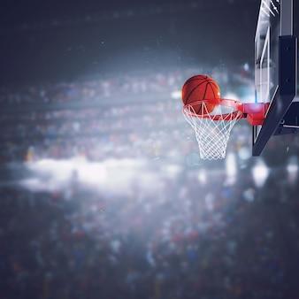 Vurige bal gaat snel naar de basket bij het verlichte stadion