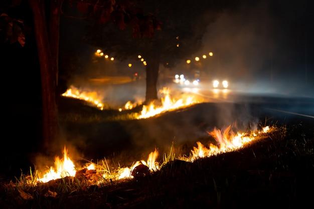 Vuur over de wilde kant van de weg, de vlam van branden 's nachts