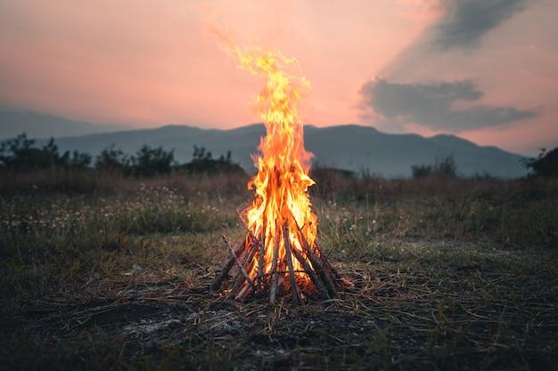 Vuur van brandhout, het vreugdevuur in de avond