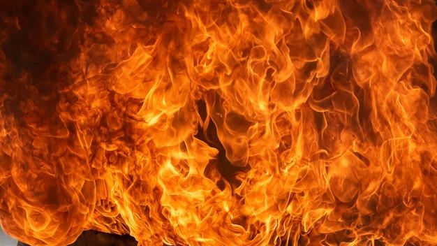 Vuur vlam en rook, detail van blaze vuur vlam voor achtergrond en textuur