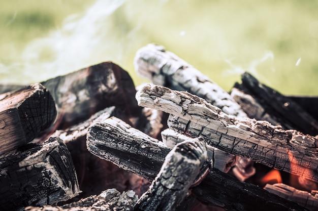 Vuur, vlammen van houtsintel voor grill of bbq-picknick, rook en brandhout buiten