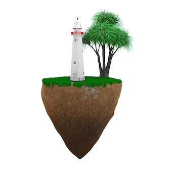 Vuurtoren met palmboom en gras op een vliegend eiland op een witte achtergrond. 3d-rendering