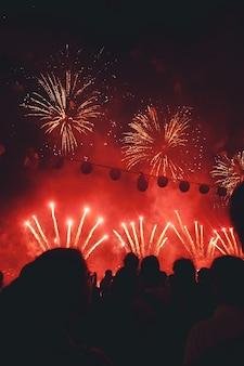 Vuurwerk dat 's nachts wordt weergegeven