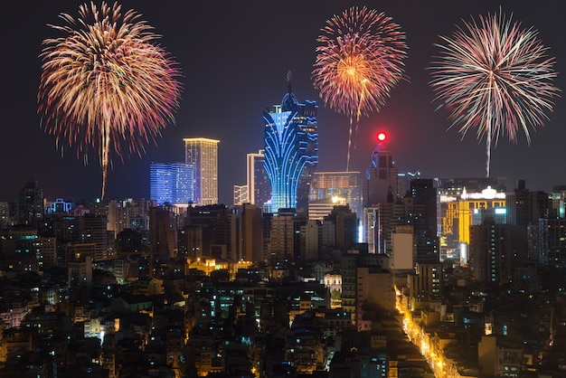 Vuurwerk in macau (macao), china