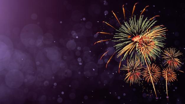 Vuurwerk met abstracte bokeh achtergrond