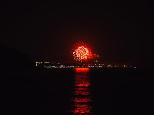 Vuurwerk over stad in de verte in de buurt van de rivier