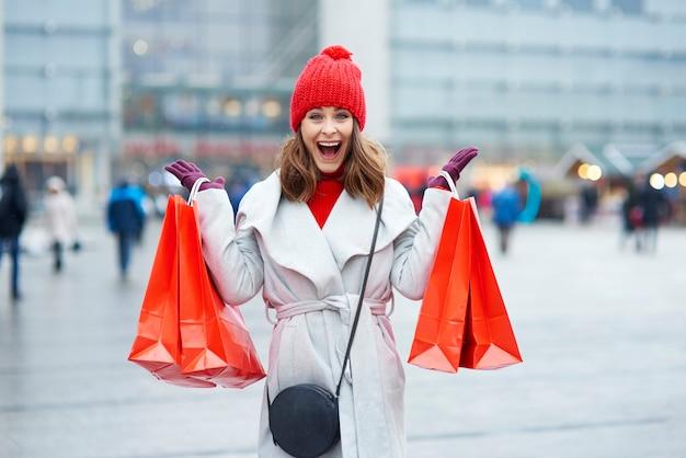 Waanzin tijdens het winkelen in de winter