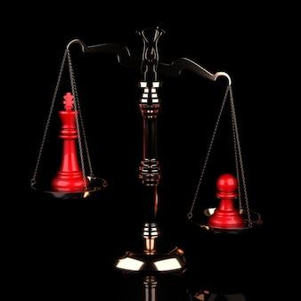 Waarde van schaakstukken schaal rode koning vs pion op zwarte achtergrond. 3d illustratie