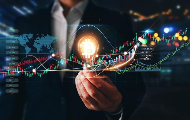 Waardestijging van cryptocurrencies futuristische effectenbeurs