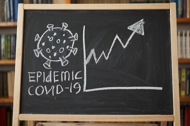Waarschuwing bij uitbraak. geschreven wit krijt op bord in verband met epidemie van coronavirus wereldwijd. covid 19 pandemische tekst op zwarte achtergrond met vrije ruimte. getekende virusbacteriën
