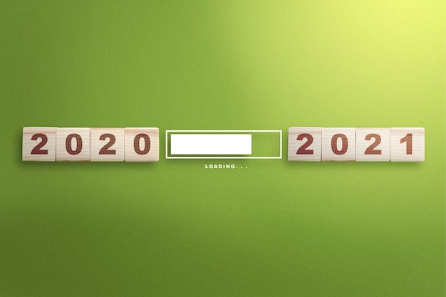 Wachten van 2020 tot 2021. gelukkig nieuwjaar 2021