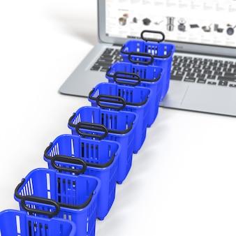Wachtlijn, mand eten winkelwagentje trolley op een laptop toetsenbord. online winkelen concept.