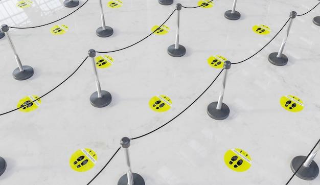 Wachtrij met marmeren vloer en gele sociale afstandslabels met verdelers voor mensen. 3d render