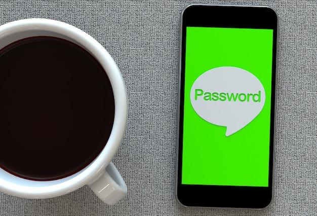 Wachtwoord, bericht op tekstballon met slimme telefoon en en koffie, 3d-rendering