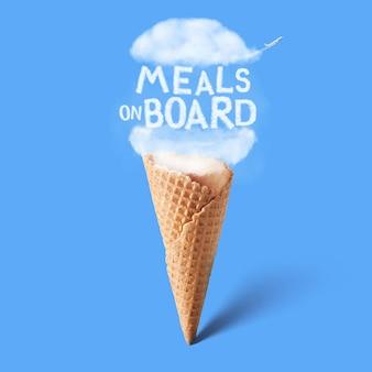 Wafelbeker met natuurlijke wolk en tekst maaltijden aan boord