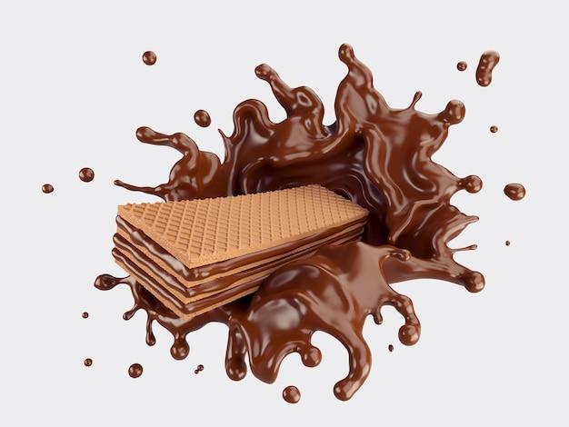 Wafels met chocolade splash