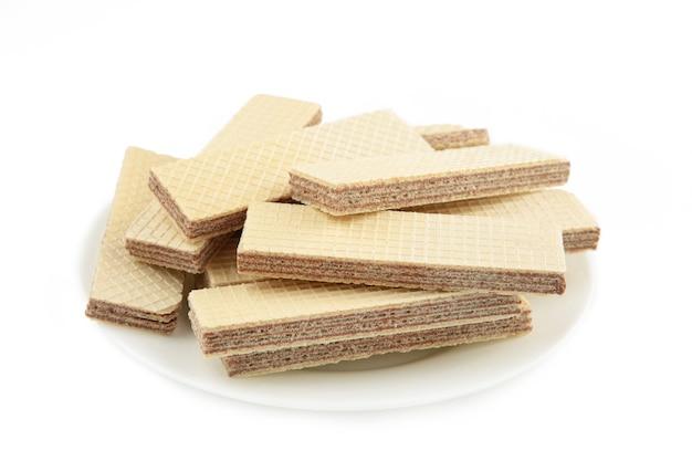 Wafeltjes met chocolade op tafel