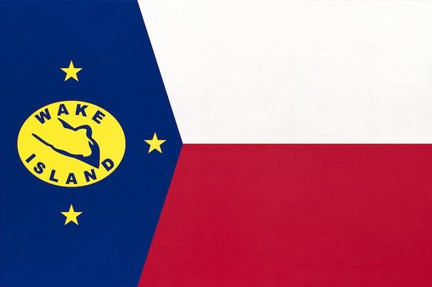 Wake island nationale stof vlag, textiel achtergrond symbool van wereld oceanië land