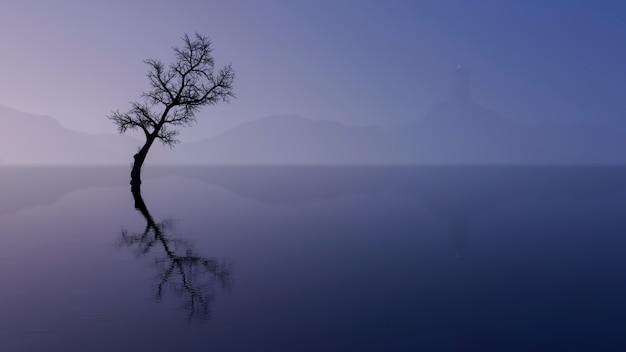 Wanaka boom met uitzicht op het meer