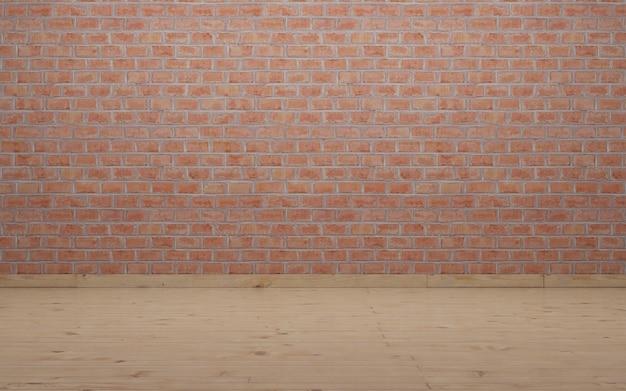 Wand en vloer voor fotografie. rustieke bakstenen muur en houten laminaatvloer.