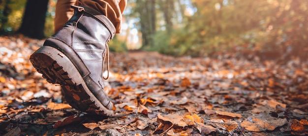 Wandelaars modderige laarzen