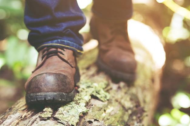 Wandelen in bergen of bos met sportieve wandelschoenen.