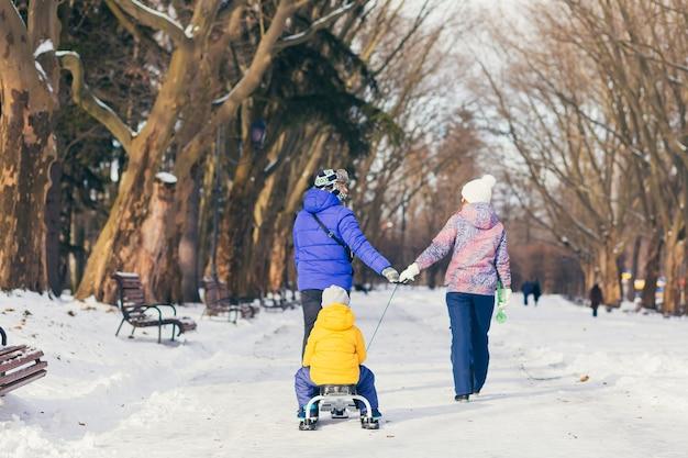 Wandelen in winter park samen, twee volwassen man en vrouw en twee kinderen en gelukkige familie
