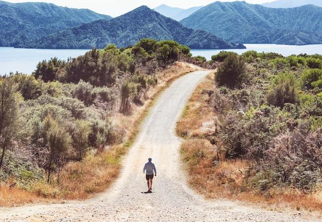 Wandelen man in de bergen buiten actieve levensstijl avontuurlijke vakanties zomer. wandelconcept