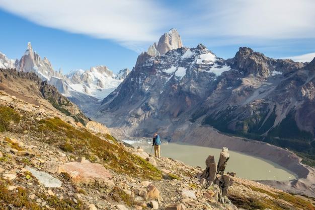 Wandeling in de patagonische bergen, argentinië