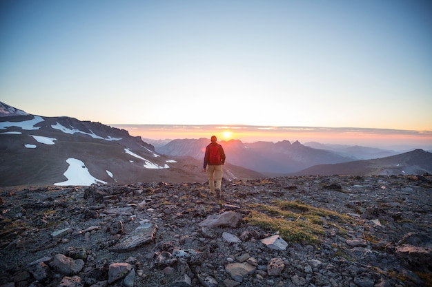Wandeling op zonsondergang