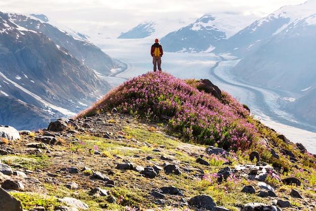 Wandeling rond zalmgletsjer, canada