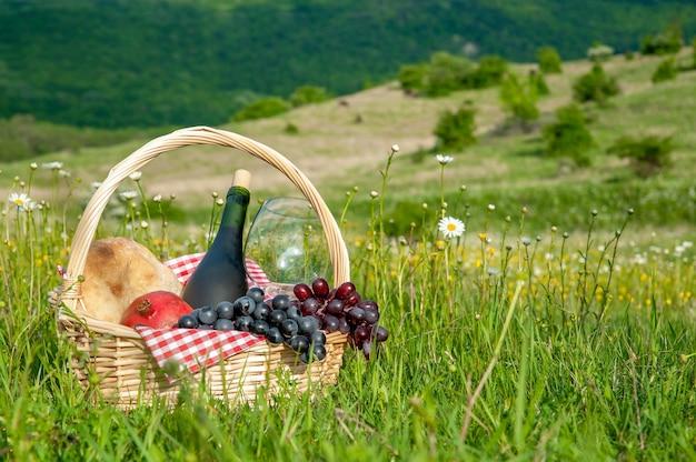 Wandelpicknicks in de bergen in de zomer of lente