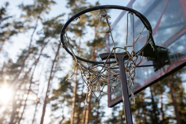 Wandelstok op een basketbalring, tegen de achtergrond van de natuur. voor welk doel dan ook.