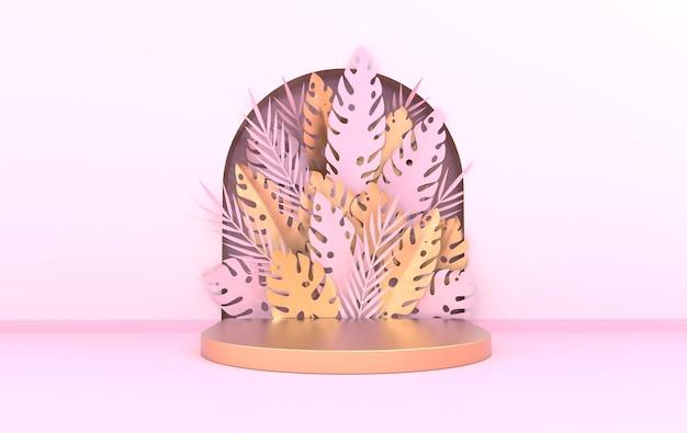 Wandscène met boog tropische papieren palm monstera bladeren en frame podium platform