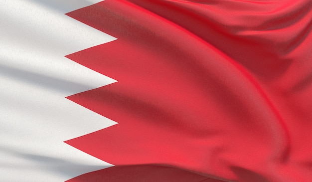 Wapperende nationale vlag van bahrein. zwaaide zeer gedetailleerde close-up 3d render.
