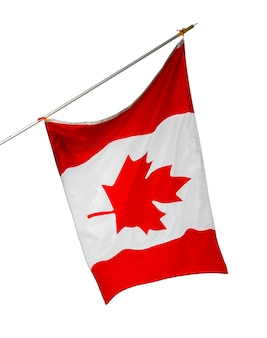 Wapperende nationale vlag van canada geïsoleerd op een witte achtergrond