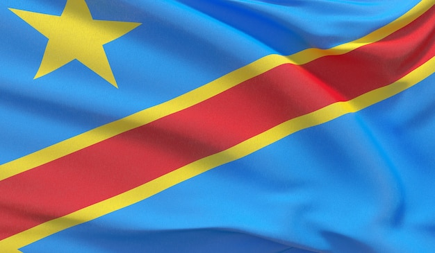 Wapperende nationale vlag van de democratische republiek congo. zwaaide zeer gedetailleerde close-up 3d render.