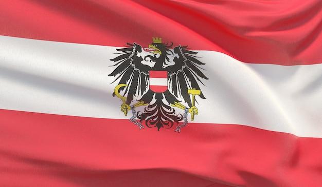 Wapperende nationale vlag van de staat oostenrijk. zwaaide zeer gedetailleerde close-up 3d render.