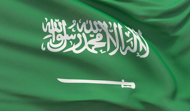 Wapperende nationale vlag van het koninkrijk saoedi-arabië. zwaaide zeer gedetailleerde close-up 3d render.