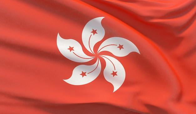 Wapperende nationale vlag van hong kong. zwaaide zeer gedetailleerde close-up 3d render.