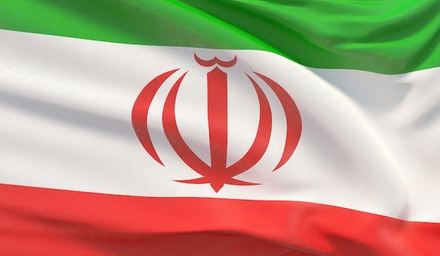 Wapperende nationale vlag van iran. zwaaide zeer gedetailleerde close-up 3d render.