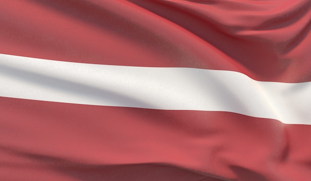 Wapperende nationale vlag van letland. zwaaide zeer gedetailleerde close-up 3d render.