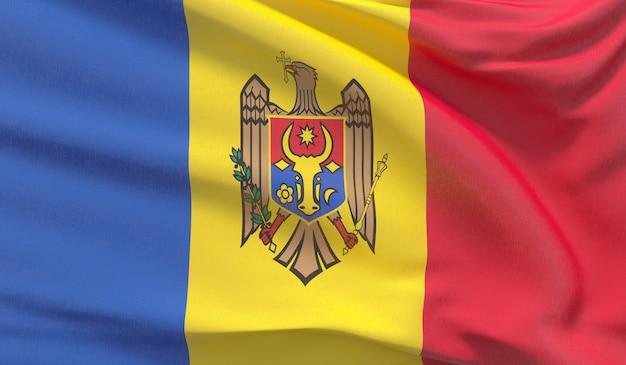 Wapperende nationale vlag van moldavië. zwaaide zeer gedetailleerde close-up 3d render.
