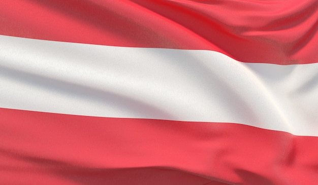 Wapperende nationale vlag van oostenrijk. zwaaide zeer gedetailleerde close-up 3d render.
