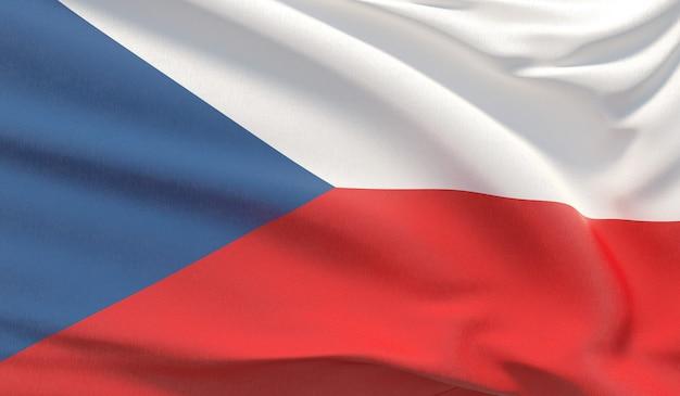 Wapperende nationale vlag van tsjechië. zwaaide zeer gedetailleerde close-up 3d render.