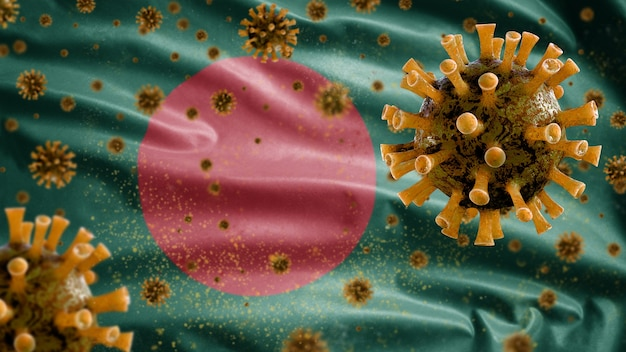 Wapperende vlag van bangladesh en coronavirus-microscoopvirus